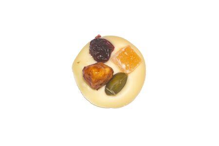 White chocolate with dry fruits on white background 版權商用圖片
