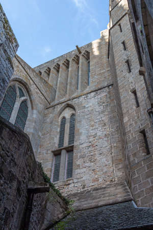 Exterior walls of Abbey of Mont Saint-Michel with stained glass