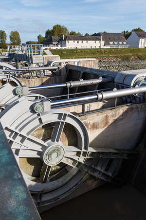 Dam on Couesnon river near the Mont Saint-Michel