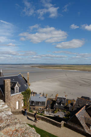 View of Mont Saint-Michel bay at low tide from its ramparts Standard-Bild