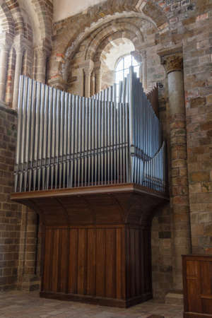 Organ in wood and metal in the abbey of Mont Saint-Michel