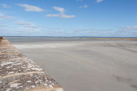 Bay of Mont Saint-Michel view from its ramparts 版權商用圖片