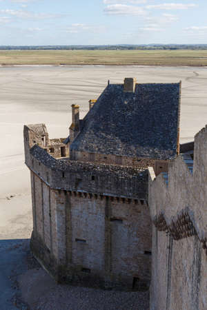 Ramparts of Mont Saint-Michel with the bay at low tide