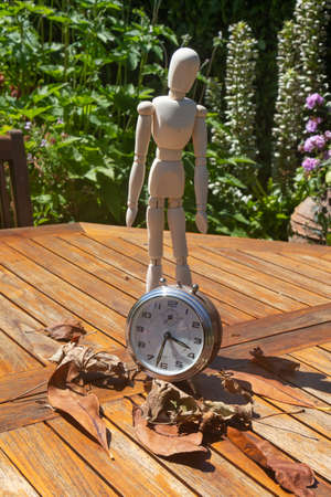 Dead leaves, mannequin for drawing and metal alarm clock 版權商用圖片