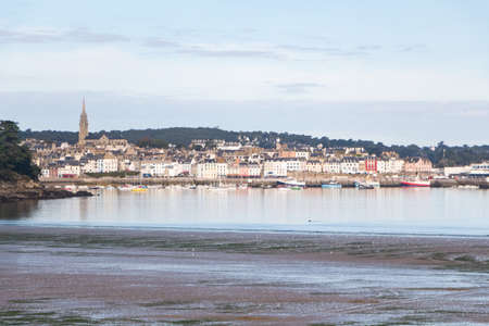 Ris beach at low tide and Rosmeur harbor in Douarnenez