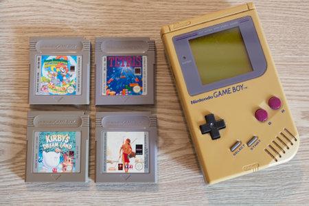 Primelin – France, October 07, 2020 : Game Boy and four games