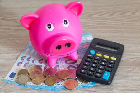 Pink piggy bank, euros banknotes, coins and calculator
