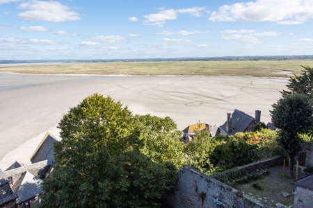 View of Mont Saint-Michel bay from its ramparts at low tide