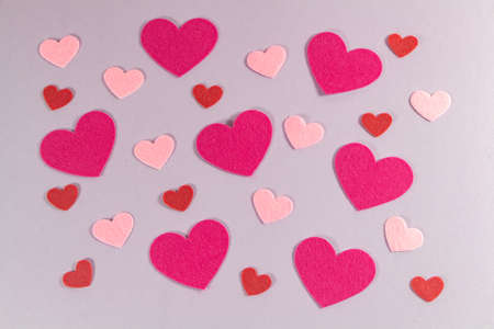 Pink and red hearts for Valentine's day