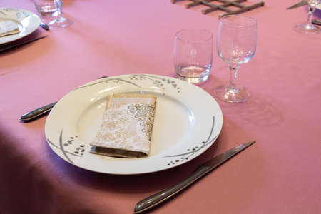 Place setting for a party with beautiful crockery