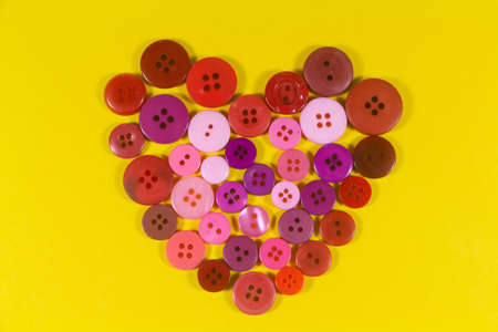 Pink and red heart made in buttons for Valentine's day Stock fotó