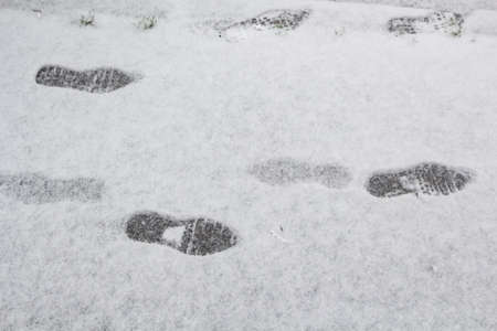 Footprints on snow in Brittany during winter Stock fotó