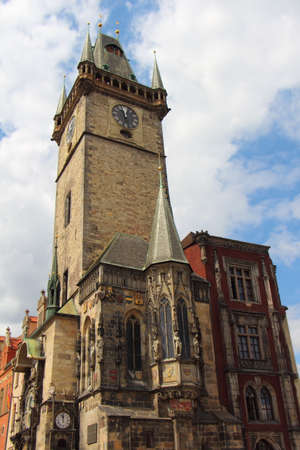 Ancient town hall and astronomical clock in the center of Prague