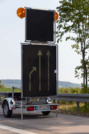 Aurach – Germany, August 19, 2018 : Roadsign on a trailer to keep right