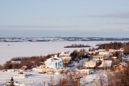 Houses at Old Town,Yellowknife  Stok Fotoğraf