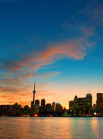 Toronto skyline by night  Stok Fotoğraf