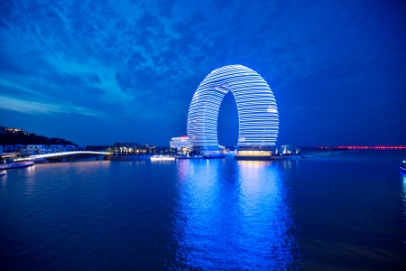 Moon Hotel in the evening Wuxi, China