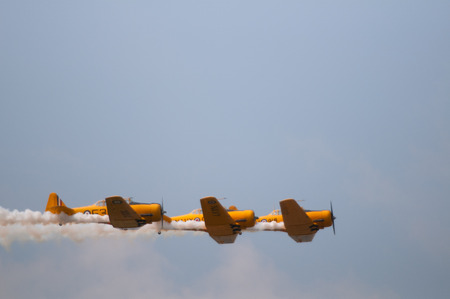 canadian military: The Canadian Snowbirds demo team in flight - Stock Image Editorial