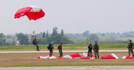 canadian military: Canada Parachute Flag - Stock Image