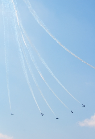 canadian military: The Canadian Snowbirds demo team in flight - Stock Image Stock Photo