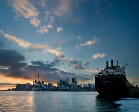 Skyline of Toronto by night, Ontario, Canada