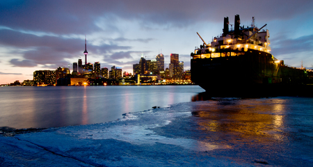 Skyline of Toronto by night, Ontario, Canada  photo