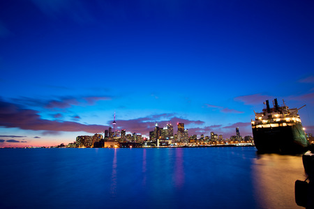 Skyline of Toronto by night, Ontario, Canada