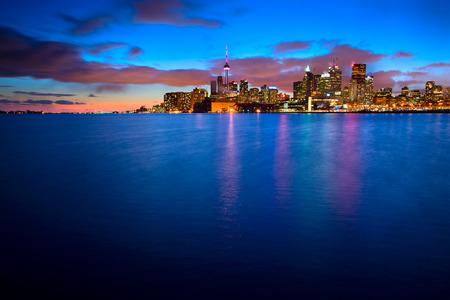 Skyline of Toronto by night, Ontario, Canada  photo