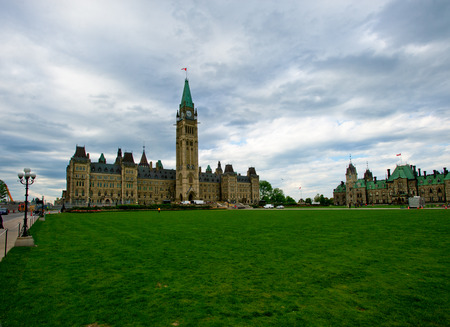 Spring Time On Parliament Hill Ottawa During The Spring Tulip Festival  photo