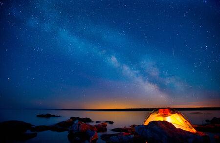 Milky Way and Lake Huron Stok Fotoğraf
