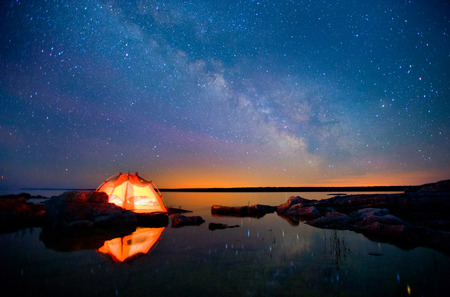 Milky Way and Lake Huron Stok Fotoğraf