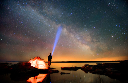 huron: Milky Way and Lake Huron Stock Photo