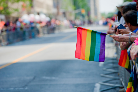 bisexual women: Toronto - June29  Festival goers hold the rainbow banner at the Toronto ,Canada on June 29 , 2014 Editorial