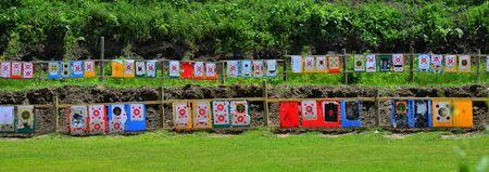 Outdoor shooting target in lawn