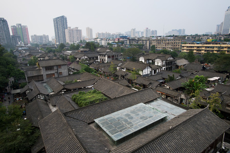 width: aerial view Chengdu city?china