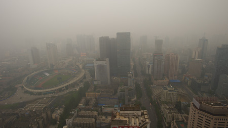 haze: Bird view at chengdu China. Fog, overcast sky and pollution.
