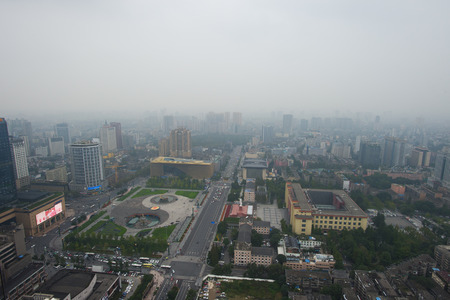 Bird view at chengdu China. Fog, overcast sky and pollution.