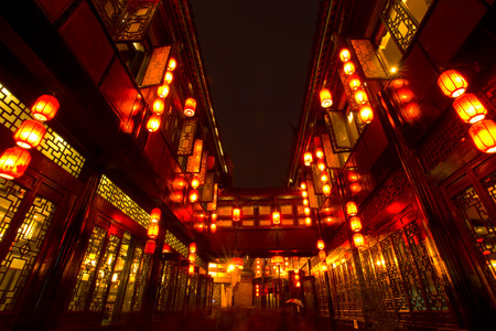 Chinese lanterns of Jinli Pedestrian Street in Chengdu Sichuan China