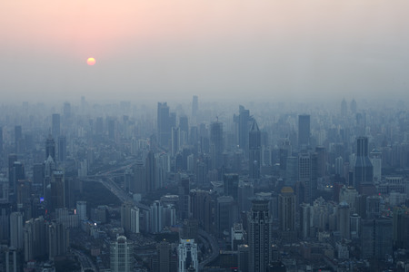 shanghai in the fog - a view from the top