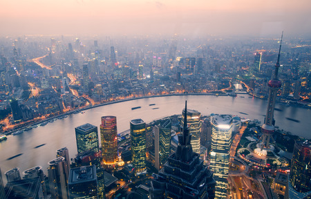 overlooking shanghai at night from shanghai world financial center