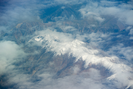 Himalayas from airplane Stock Photo
