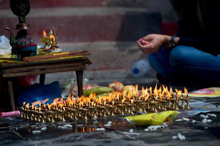 divali: Candles temple in Kathmandu, Nepal
