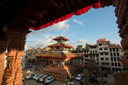 Old Durbar Square with pagodas. Largest city of Nepal