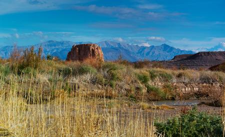 reed stem: Lake Mead panorama Stock Photo