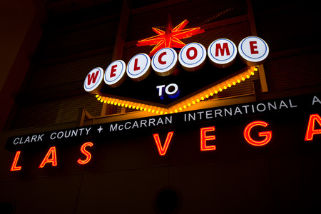 las vegas lights: welcome to fabulous las vegas Nevada sign shot at night with a motion effect from the outside to the middle of the sign, effect done at the time of capture