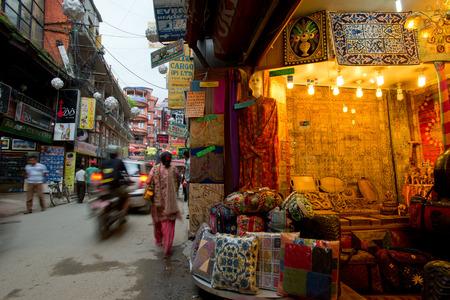 narrow street at Kathmandu market Editorial