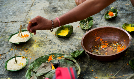 hindu gods: Offerings made to Hindu gods during a traditional Hindu Nepali Stock Photo