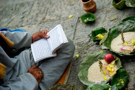 offerings: Offerings made to Hindu gods during a traditional Hindu Nepali Stock Photo