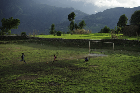 Nepalese kinder voetbal amateur-team Stockfoto
