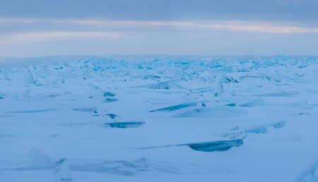 hummock: Thin transparent ice floes. Hummocks on Huron lake